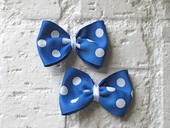 Mini Hair Bows - Blue & White Polka Dots - Creighton Bluejays - Grosgrain and Alligator Clip