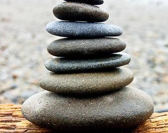 In Balance, Cairnes, Stacked Rocks on Washington Beach Canvas 20 x 30