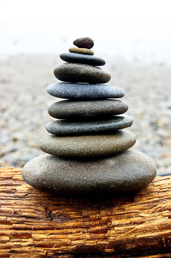 In Balance, Cairnes, Stacked Rocks on Washington Beach- 8 x 10 Fine Art Photography Print- Peace, Zen, Calm
