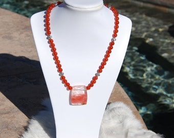 Stunning Carnelian beaded necklace with Tiger Quartz pendant