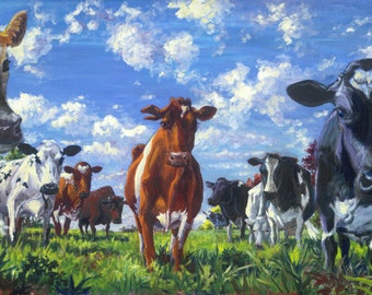 "Cows unframed Giclee Print 12""x28"" canvas (Who Are You)"