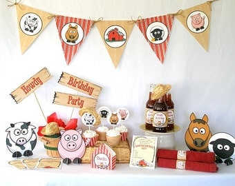 Farm Barnyard Birthday Printable Party Pack Kit Instant Download