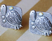 Reserved - Turtle Cuff Links - Rhinestone Animal Cufflink - Sea Tortoise - WEDDING Cufflinks - Gifts for Man - Men's Graduation Gift