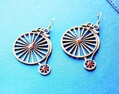Bicycle Earrings - Antique Old Wheel Jewelry - Bike Bicyclist Jewellery Gift - Unicycle Earring - Red Stud Rhinestone Bikes - Women's Gifts