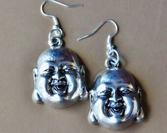 Buddha Earrings - Meditation Yoga - Asian Buddhist Jewelry - Large Silver Head - Smiling Happy Smile Face - Namaste Prayer Gift