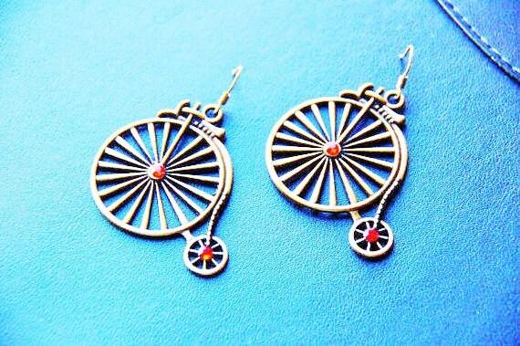 Bicycle Earrings - Antique Old Wheel Jewelry - Bike Bicyclist Jewellery Gift - Unicycle Earring - Red Stud Rhinestone Bikes - Women's Gifts
