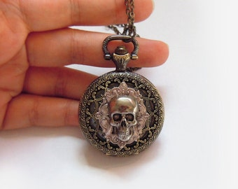 Hamlet's Yorick -- Skull  Pocket watch necklace.Father's Day gift