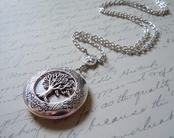 Tree locket Tree of Life,Yggdrasill(the World Tree) Elegant Gothic  Locket-Silver Tree Locket-silver locket.Christmas gift tree necklace