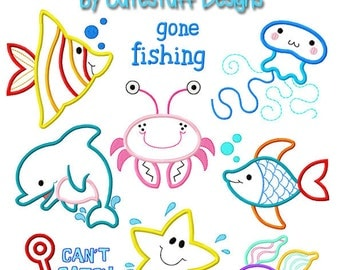 Set of 8 Fishy Friends adorable fish Machine Embroidery Applique by Cutestuff Designs INSTANT DOWNLOAD