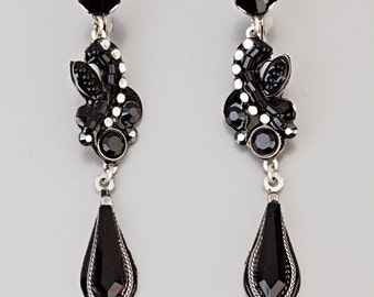 Long Black Evening Earrings - Alpaca long black evening earrings with Swarovski crystals and beads - hand-made by Adaya Jewelry