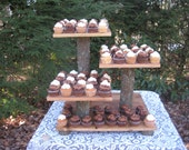 Rustic Wedding Cake Stand, Cupcake Stand, Rustic Wedding,  Log Slice Dessert Stand, Cake Stand, Tree Cupcake Stand, Natural 4 Tier XLarge