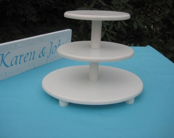 Cupcake Stand Wedding OVAL White 3 Tier