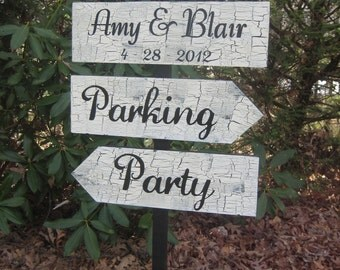 Wedding Directional Sign, Directional Sign, Rustic Wedding, Shabby Chic Sign, Personalized Sign, Wedding Sign, 3 Board Sign