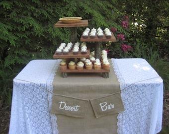 Rustic Wedding Cake Stand Mini Cupcake Stand Dessert Server Log Slice Natural 4 Tier