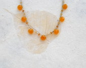 Citrine Briolettes with Twisted Liquid Silver necklace 18""