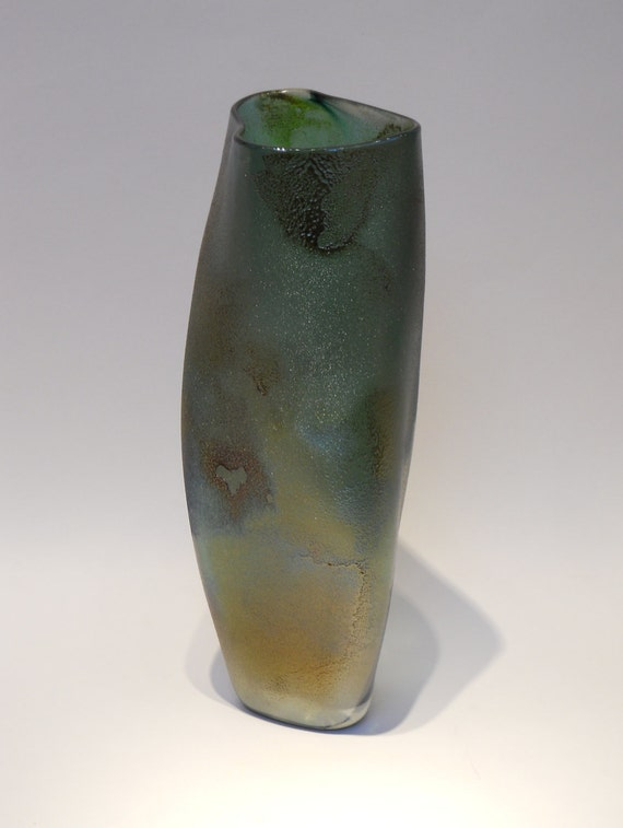"Green Gray Gold Bown ""Raku"" Glass organic Triangulated Vase Jug Bottle with Heart"
