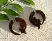 Fake Gauges - Tribal Style Salvaged Wood Brown Ginkgo Biloba Fake Gauge Earrings - Flower pierced stud post hoop