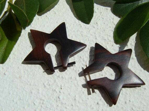 STAR tribal wooden stick earrings / on SALE - Rock Star - Organic Wood Earrings - stick post stud tribal earrings