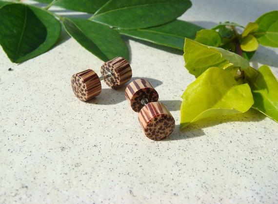 Earthy Palm Wooden Fake Ear Plugs - Steampunk earrings Tribal Earrings Fake Gauges Wooden Earring Men Women