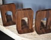 One set of Faux Bois Wood Decor Bookends Vintage Organization