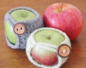 Crochet Apple Cozy With Tree Bark Button, Cuddle Your Fruit