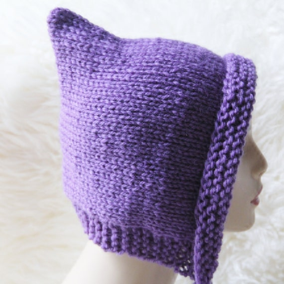 Reserved for Nicole, Knit Pixie Hat in Purple and Three Donut Pincushions