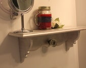 Shabby Chic Wood Shelf with Vintage Glass Door Knob - Hand painted Metalic Pearl White
