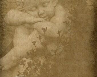 Sepia Angel Digital Download jpg File Antiqued Art Print 2 Cherub Cupid