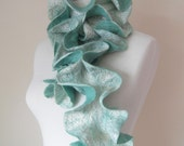 Felted Scarf Ruffle Collar Felt Ruffle Scarf Neck Warmer Teal Green Aqua Seafoam Fashion Scarves