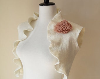 Bridal Bolero Shrug Ivory Wedding Bolero Jacket Shawl Wrap Wool silk Felted Bride Bolero etsy uk