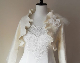Bridal Jacket Bolero Shrug Ivory Wedding Jacket Wool and Silk Felted