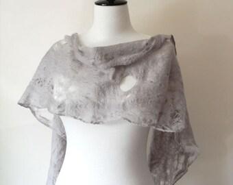 Grey Silver Wool Shawl Scarf Wraps Shawls for all seasons Gray cobweb