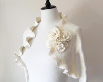 Bridal Bolero Shrug Ivory White Wedding Bolero Jacket Felted with Rose Flowers Fresh Water Pearls