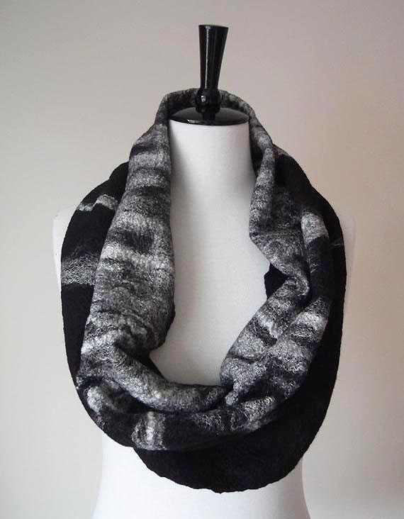 Infinity Scarf Loop Circle wool Scarf Black & White Felted ideal Gift for her woman