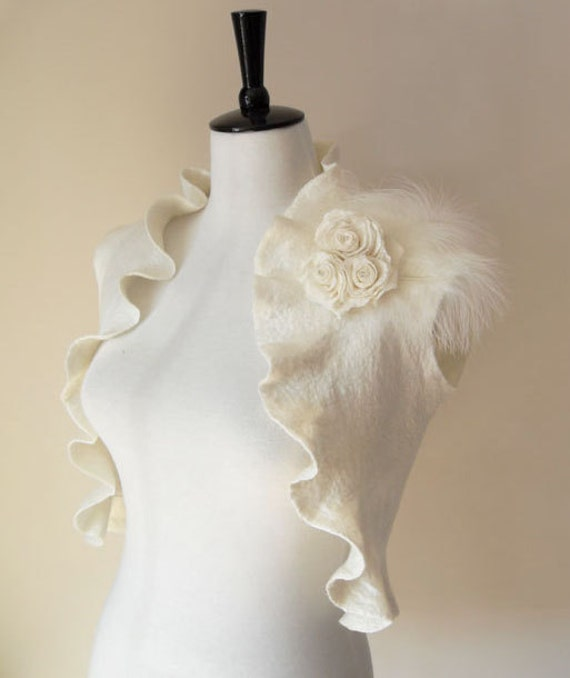 Bridal Shrug Ivory felted Bolero for Special Occasion