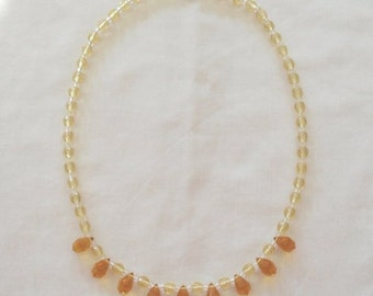 Necklace Crystal Beads Yellow 16 Inch Pristine Condition Vintage Jewelry SALE