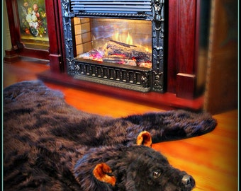 Hand Made Black BEAR SKIN RUG ManMade Faux Fur. Looks and Feels like Real Taxidermy Animal Friendly Fur New