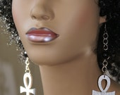 Wood Dangle Earrings-Ankh