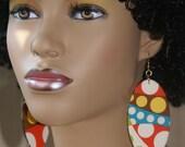 Fabric Covered Wood Earrings