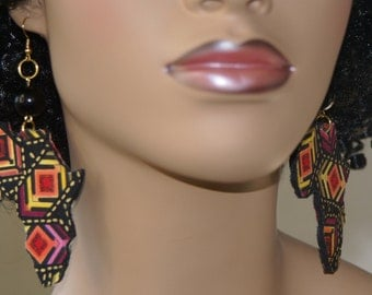 Fabric Covered Wood Earrings-Africa