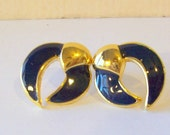 Vintage Gold Enameled Navy Cresent Earrings Small