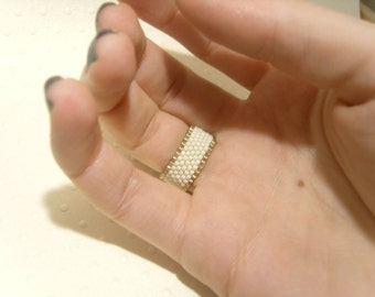 Seed Beaded Ring : Cream Seed Bead Ring Band, Beaded Jewelry, Plain Ring