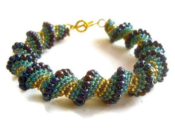 Spiral Rope Bracelet, Seed Bead Bracelet, Woven Bead Jewelry, Beaded Bracelet