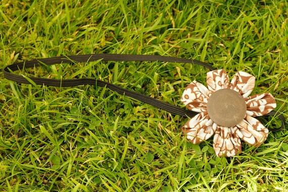 Cute brown big buttoned flower headband