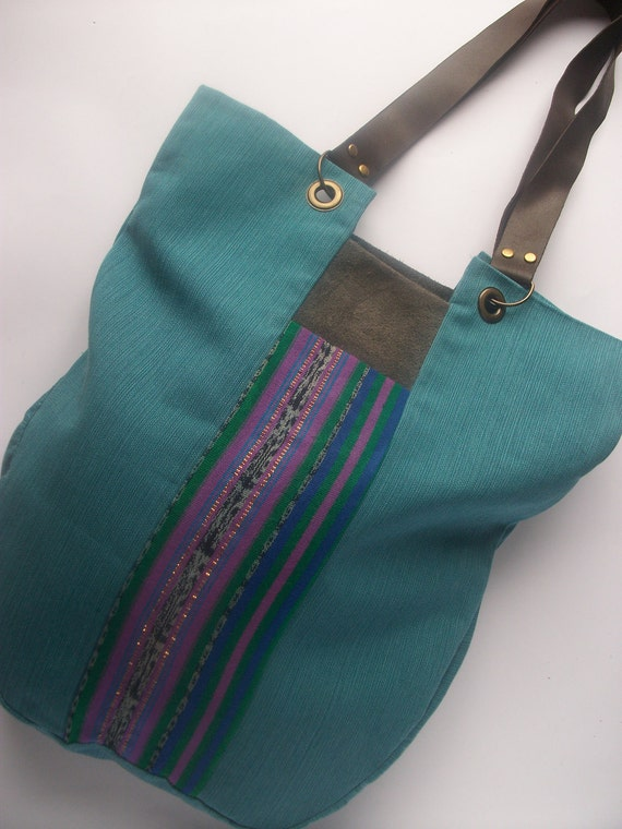 Turquoise Shoulder Tote Handbag / Mexican stripe pattern Bag