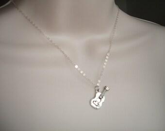 Guitar Necklace - Guitar Charm - Guitar Pendant - Silver - Guitar