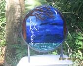 SOLIEL fused glass art home decor sculpture lightening thunderstorm over ocean with silver moon