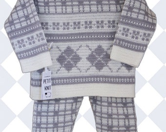 9 − 12 months or 10 − 24 months Knitted SET: SWEATER  and PANTS for a Baby Boy. Wool  Blend Yarn. Ready to ship.