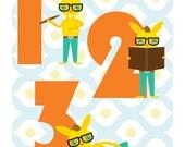Counting Nursery Art Print - Bunny Numbers 123 (8x10)