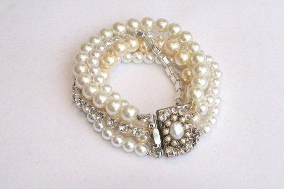 Pearl Bridal Bracelet Silver Wedding Vintage Bracelet cuff Crystals Swarovski Pearls Rhinestones Wedding Multi strand Vintage Style Bracelet